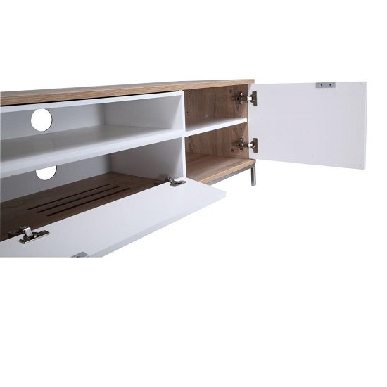 Nelson Wooden TV Cabinet Large In White And Light Oak_5