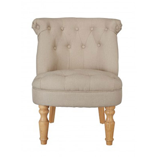 Carlos Boudoir Style Chair In Beige Fabric With Linen Effect