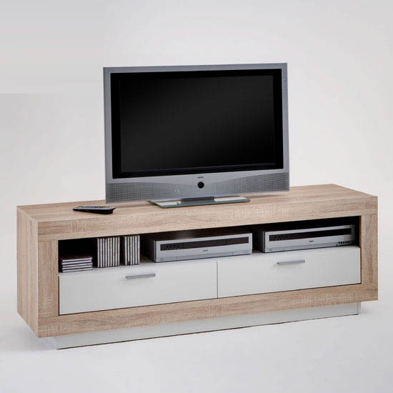Chat lcd tv stand in oak and white with 2 drawers 20009 furn White tv console