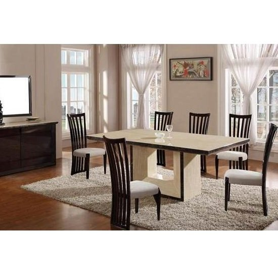 Chic Cream Marble Dining Table And 4 Contempo Beige Chairs