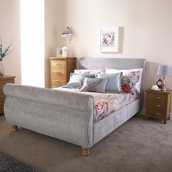 Larson Sleigh Bed In Chenille Fabric With Wooden Legs_1
