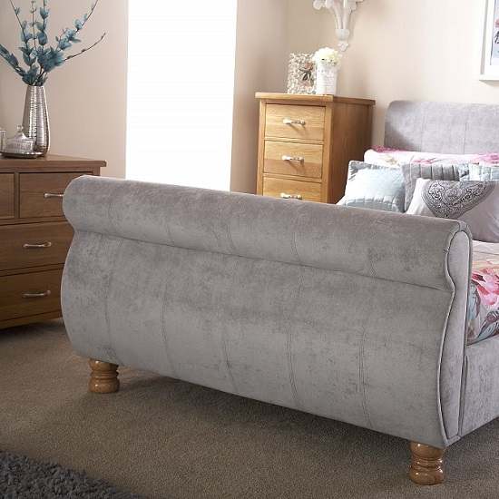 Larson Sleigh Bed In Chenille Fabric With Wooden Legs_2