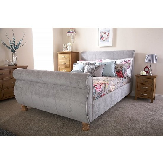 Larson Sleigh Bed In Chenille Fabric With Wooden Legs_3
