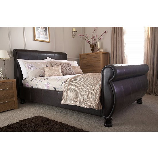 Larson Sleigh Bed In Brown Faux Leather With Wooden Legs_2