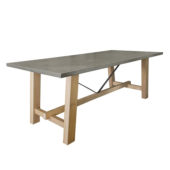 Nilsson Dining Table Large In Concrete Top With Wooden Legs