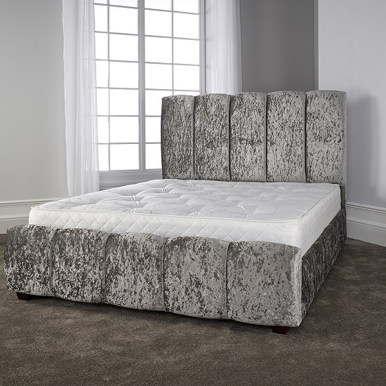 Winstead Trendy Bed In Glitz Silver With Wooden Feet_1