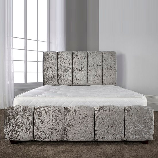 Winstead Trendy Bed In Glitz Silver With Wooden Feet_4