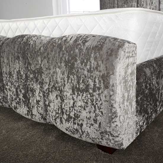 Winstead Trendy Bed In Glitz Silver With Wooden Feet_3