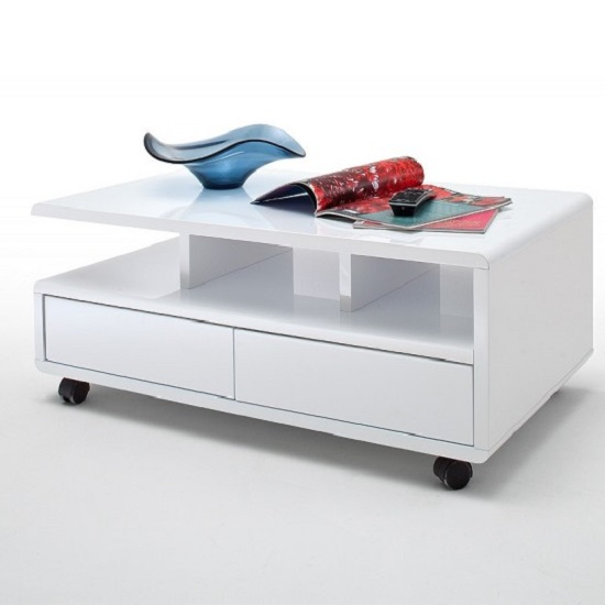Wessex Coffee Table In White Gloss With 2 Drawers And 5 Rollers_1