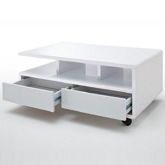 Wessex Coffee Table In White Gloss With 2 Drawers And 5 Rollers_2