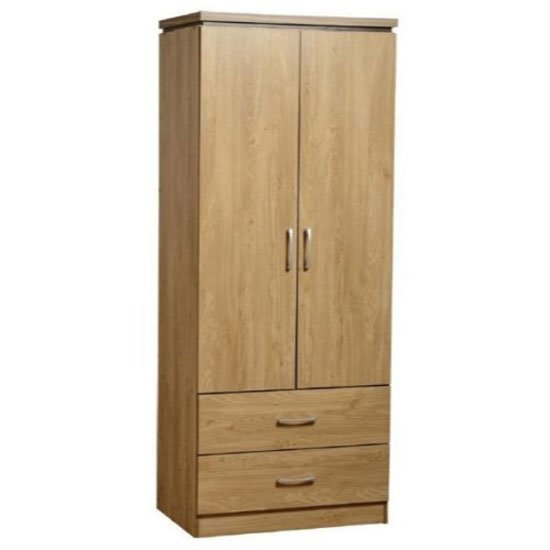 Carlo Wardrobe In Oak With 2 Doors And 2 Drawers
