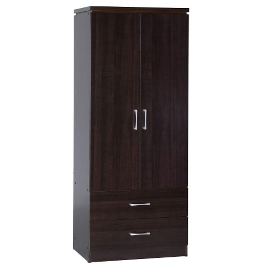 Carlo Wardrobe In Walnut With 2 Doors And 2 Drawers