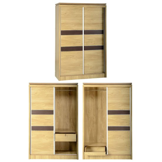 Read more about Carlo sliding wardrobe in oak with walnut trim and 2 door