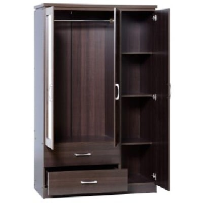 Carlo 3 Door Wardrobe In Walnut With 2 Drawers And Mirrors