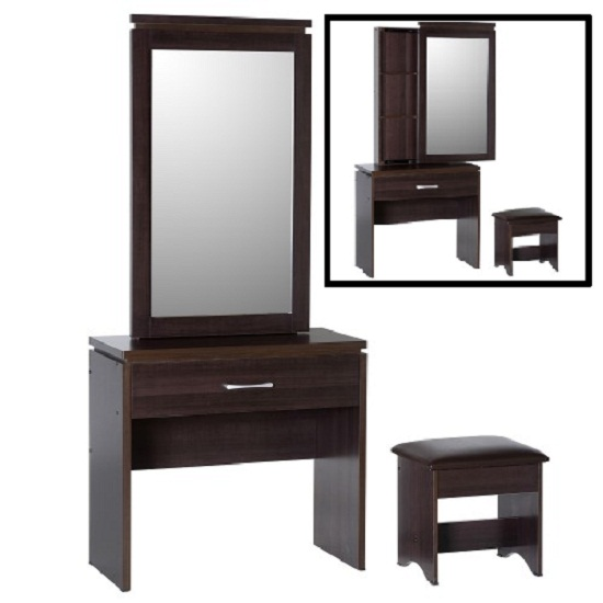 Carlo Dressing Table In Walnut With Mirror And Stool Buy  : ChrlesDSet Seco from www.furnitureinfashion.net size 550 x 550 jpeg 41kB