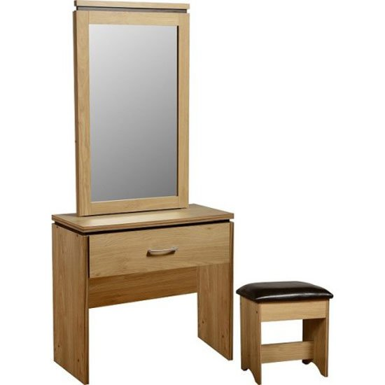 Carlo Dressing Table In Oak With Mirror And Stool