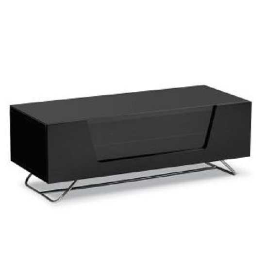Romi LCD TV Stand In Black With Chrome Base_3