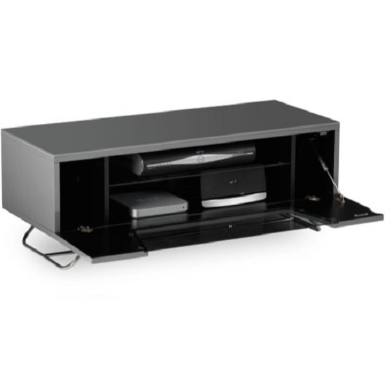 Romi LCD TV Stand In Grey With Chrome Base_5