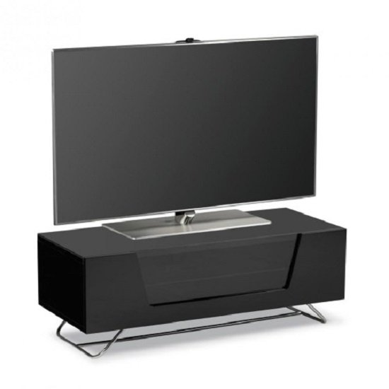 Romi LCD TV Stand In Black With Chrome Base_2