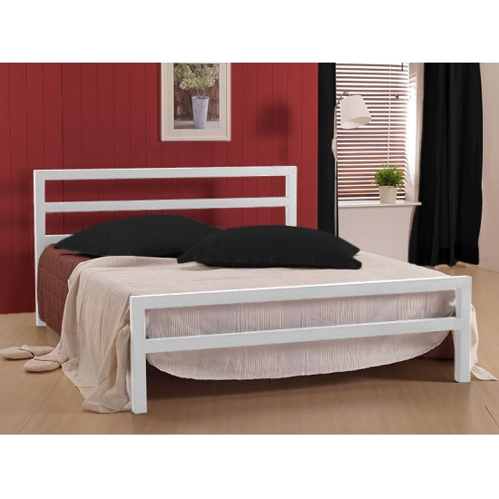 City Block Metal Vintage Style Bed In White