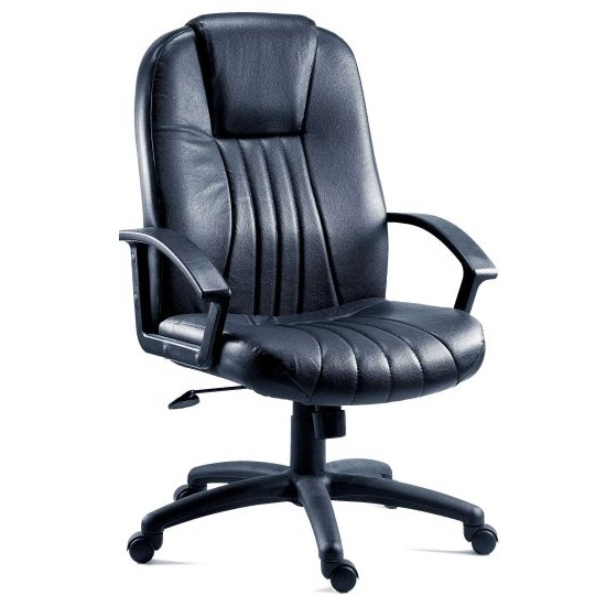 Cromer home office chair in black faux leather with castors for Home office chairs leather