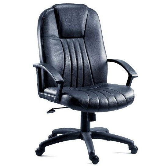 Cromer Home Office Chair In Black Faux Leather With Castors