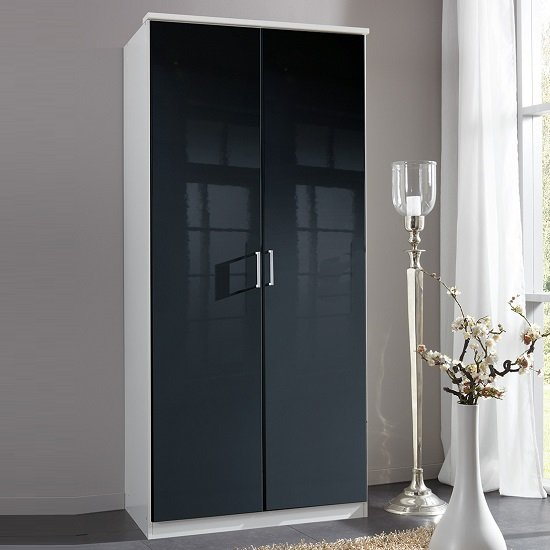 Alton Wardrobe In Gloss Black And Alpine White With 2 Doors_1