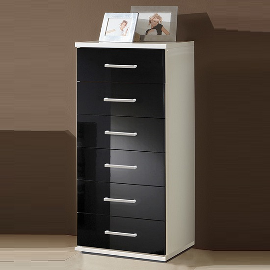 alton tall chest of drawers in alpine white and gloss black. Black Bedroom Furniture Sets. Home Design Ideas