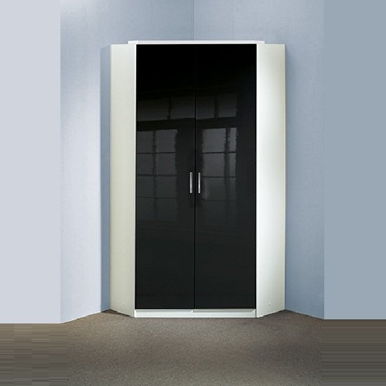 Alton Gloss Black Corner Wardrobe In Alpine White With 2 Doors 1