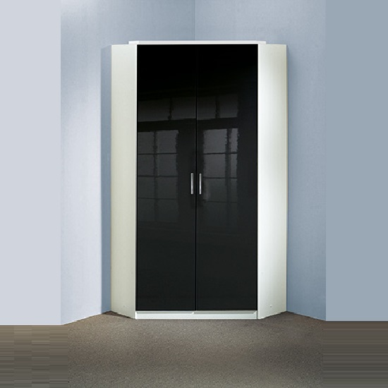 alton gloss black corner wardrobe in alpine white with