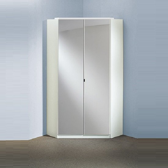 Alton Corner Mirror Wardrobe In Alpine White With 2 Doors