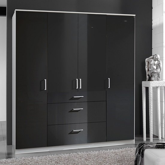 Alton Wardrobe In Gloss Black And Alpine White With 4 Doors