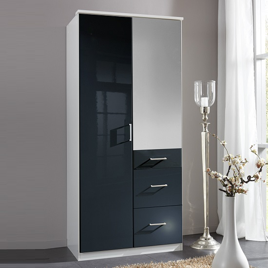 Alton Mirror Wardrobe In Black Gloss Alpine White With 2 Doors_1