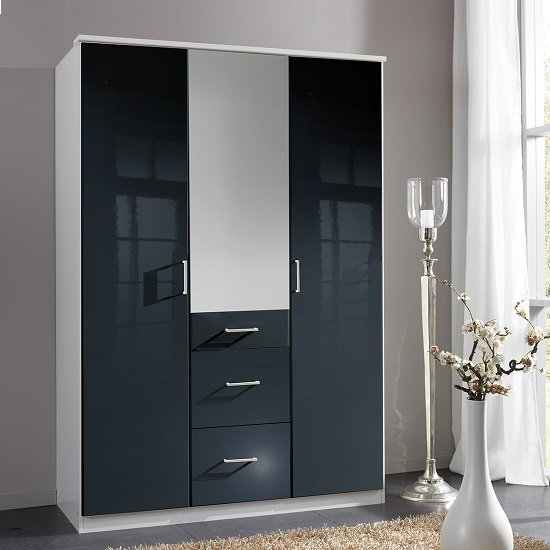 Alton Mirror Wardrobe In Gloss Black Alpine White With 3