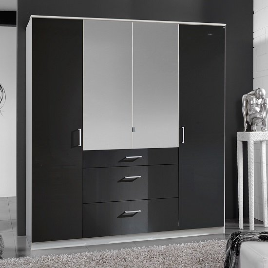 Alton Mirror Wardrobe In Gloss Black Alpine White With 4 Doors 1