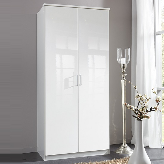 Alton Wardrobe In High Gloss Alpine White With 2 Doors