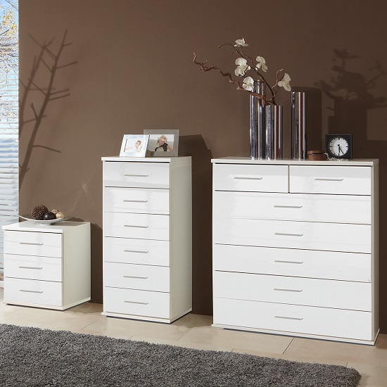 Alton Wide Chest of Drawers In High Gloss Alpine White_2