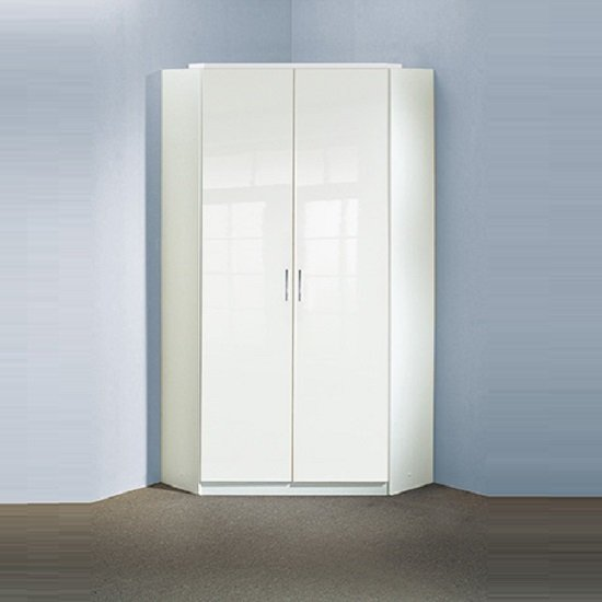 Alton Corner Wardrobe In High Gloss Alpine White With 2 Doors 1