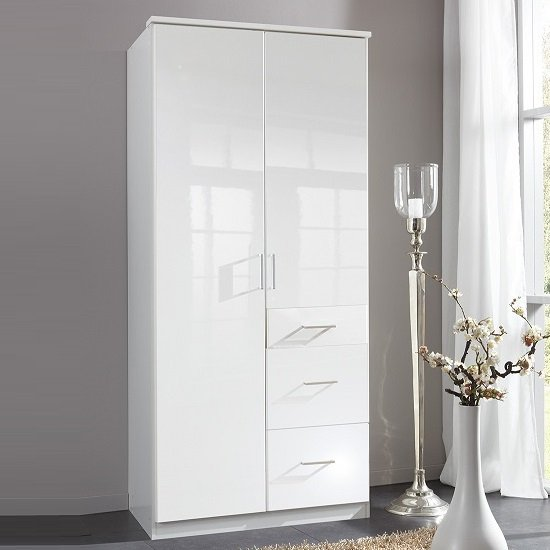 Alton Wardrobe In High Gloss Alpine White With 2 Doors 3 Drawers