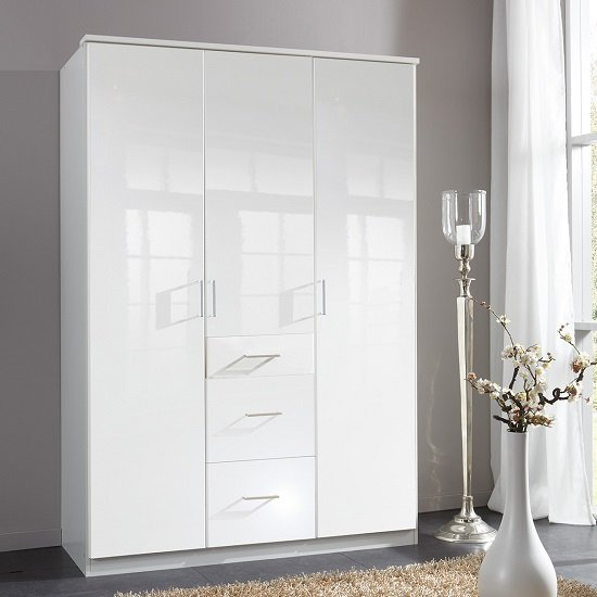 Alton wardrobe in pear gloss alpine white with 3 doors 3 for Alpine high gloss bedroom furniture