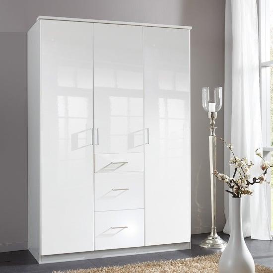 Alton Wardrobe In Pear Gloss Alpine White With 3 Doors 3