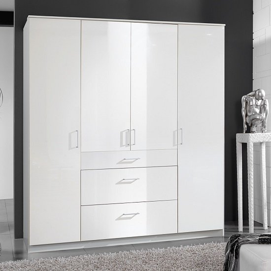 Alton Wardrobe In High Gloss Alpine White With 4 Doors 3 Drawers_1