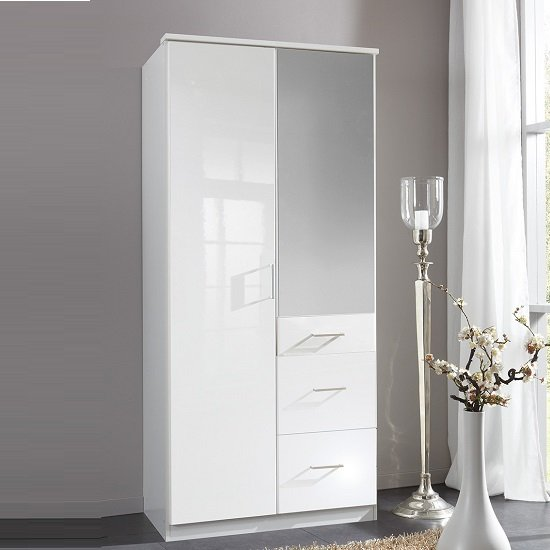 Alton Mirror Wardrobe In High Gloss Alpine White With 2 Doors 1