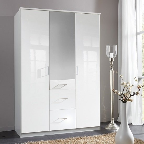 Alton Mirror Wardrobe In High Gloss Alpine White With 3 Doors_1