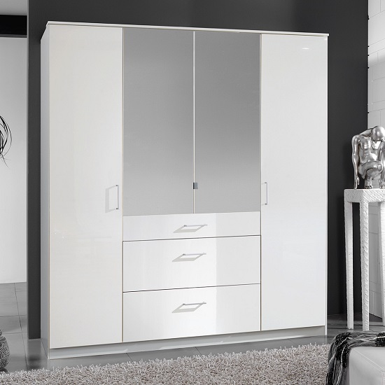 Alton mirror wardrobe in high gloss alpine white with 4 for Alpine high gloss bedroom furniture