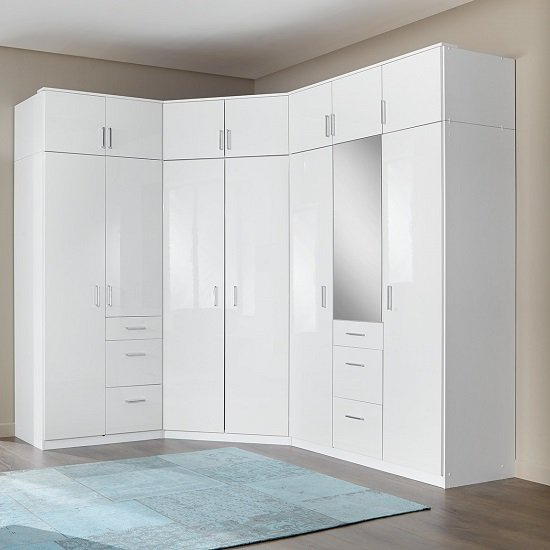 Alton Corner Wardrobe In High Gloss Alpine White With Mirror
