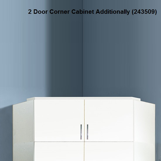 Alton Corner Wardrobe In High Gloss Alpine White With Mirror 7