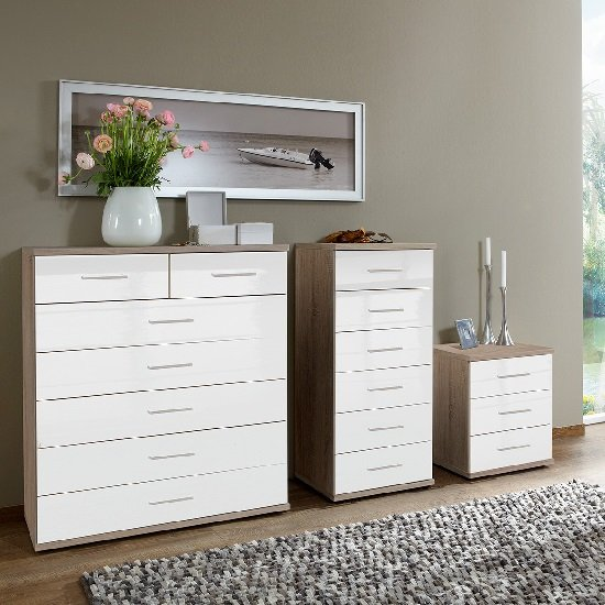 Alton Wide Chest of Drawers In High Gloss White And Oak_2