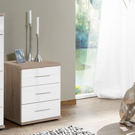 Alton Bedside Cabinet In High Gloss White And Oak With 3 Drawers