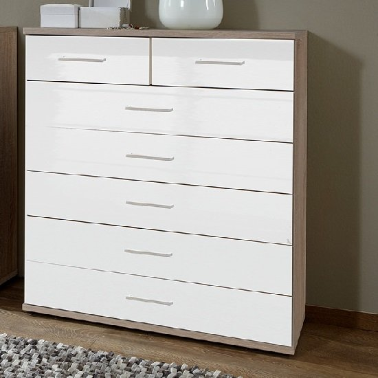 Alton Wide Chest Of Drawers In High Gloss White And Oak